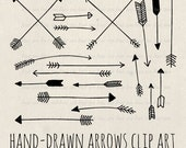 arrows clip art, tribal arrow clipart, archery hand drawn arrows, doodle drawing tribal digital elements overlays instant download png 071