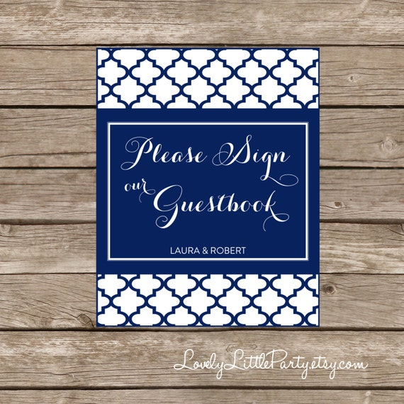 Moroccan GUEST BOOK sign - Printable- You Choose Color - Lovely Little Party