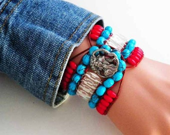 Leather Cuff Southwestern Bracelet...5 Row in Greek Leather and Flower Lady Silver Stamped Button