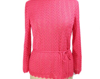 vintage 1970s pointelle sweater / Castleberry / pink / belted sweater / crocheted sweater / women's vintage sweater / tag size 8
