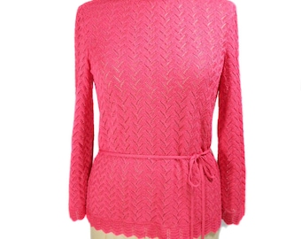 vintage 1970s belted pointelle sweater / Castleberry / hot pink / crocheted sweater / women's vintage sweater / size 8