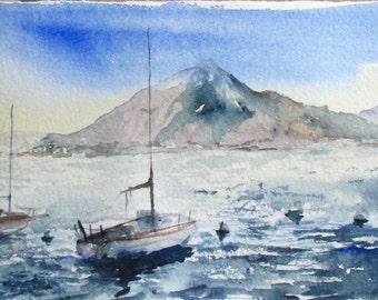 Italian Lake Watercolor wanderlust landscape mountain