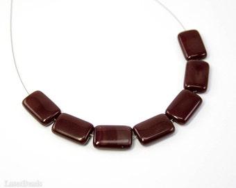 Dark Red Beads 15mm (10) Burgundy Czech Flat Tile Glass Geometry last