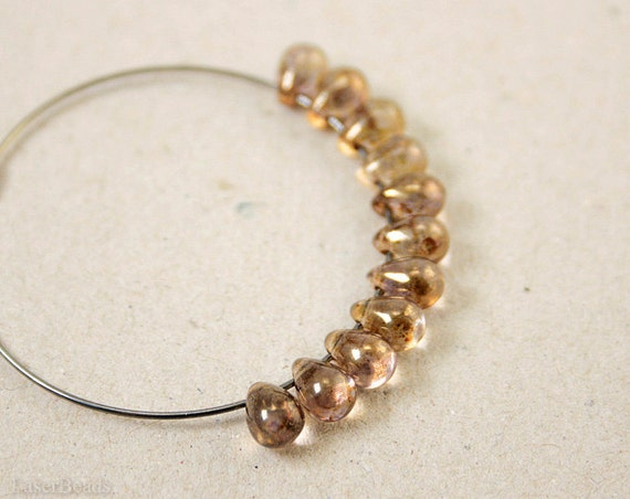 Bronze Teardrop Beads 7mm (40) Czech Pressed Glass Topaz Gold Yellow LAST