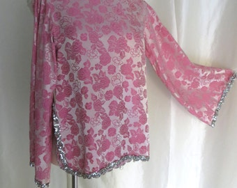 Vintage womens tunic dressy blouse top pink silver sequins high collar bell sleeve Oriental Persian Turkish Middle Eastern Halloween costume
