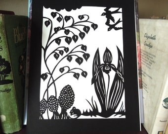Cut Paper Swallows Mouse Wildflower Woodland Scene Wall Art