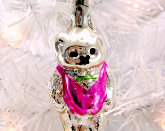 Vintage Figural Glass Teddy Bear Christmas Holiday Ornament