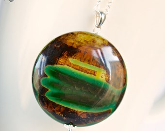 Huge dragon vein agate pendant, green yellow Dragon Carinth large stone pendant, sterling silver pendant with dragon vein agate stone, OOAK