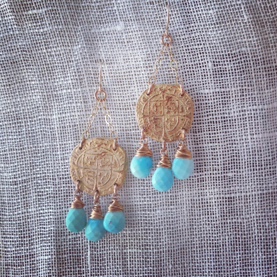 Tudor Chandelier Earrings with bronze coin and sleeping beauty turquoise