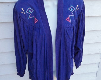 90s Purple Aztec Embroidered Sweater Light Spring Jacket