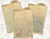 NOTES - Printable Download Digital Collage Sheett Notepad Journaling - Shabby Chic, Wish List, Vintage Ephemera Paper Craft, Scrapbook