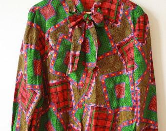 80s Secretary Blouse Red & Green Womens Medium  Gift for Her