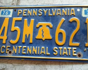 License Plate, Tin, Pennsylvania, 1970s, Bicentennial, Tin Plate, Tin License Plates, Blue, Yellow, Man Cave, Mens, Garage, All Vintage Man