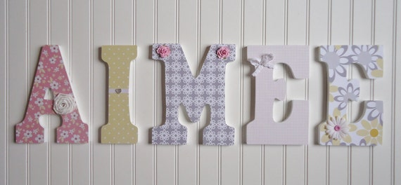 Wall Letters Nursery Wall Decor Wooden Letters Pink Gray
