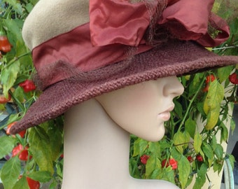 NWT 1990s Dress Hat, velour, taffeta, linen, large bow, brown / beige / burnt orange, original, Made in Poland, layaway available, Greece