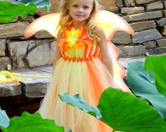 Princess Leilani Hawaiian Tutu Dress with large Fairy Wings 3t, 4t, 5t. 6