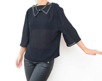 Vintage black sheer women blouse