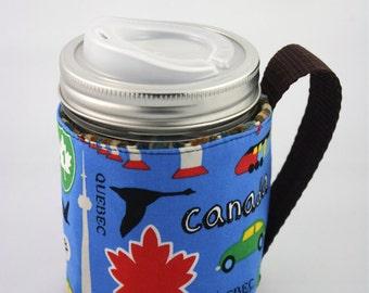 ReFluff, eco friendly, mason jar cozy, mason jar sleeve, hand made, Canada eh, Canadian,train, cuppow, starbucks, B.C., Beaver, Maple Leaf,