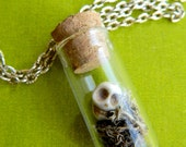 STEAMPUNK Fairy skull mini terrarium glass bottle necklace - Strangelands Apothecary Collection - Neo Classical baubles and Jewelry