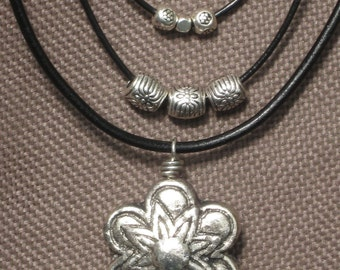 Necklace-Leather Jewelry-Charm Necklace-Leather Necklace-Flower Charm-Silver Charms-Black Leather-Black and Silver-Beaded Leather Neclace