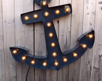 Anchor Sign Marquee Beach decor Lighted anchor Anchor light Nautical lamp Accent lighting Seashore Seaside lighted sign Industrial anchor