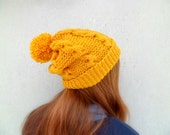 Free shipping // Thick cable knit mustard beanie with pom pom // Warm winter hat // Hand knitted yellow beanie // Women accessories // Toque