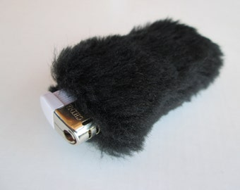 Lighter Case, Goth 90s Furry Black Lighter Holder, Bic Lighter Cover, Lighters, Fuzzy Black Fur Smoking Accessories