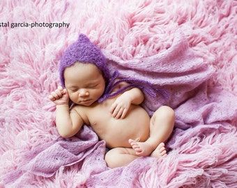 Angelic Violet Purple Mohair Baby Bonnet - Vintage Inspired Crochet Knit Pixie Hat for Baby Girl - Newborn - Made to Order