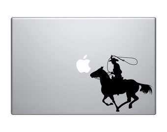 Cowboy on Horseback Lasso Throw Version 1 Macbook Vinyl Sticker Decal Mac Apple Laptop iPad