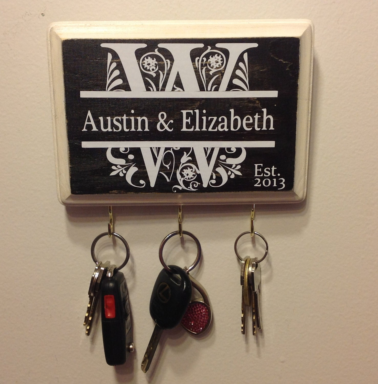 Personalized Wedding Gifts: Custom Wedding Gift Personalized Keyholder Monogram Great For