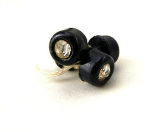 Tiny black buttons with rhinestones, set of 8 vintage from 1950s // round plastic shank buttons