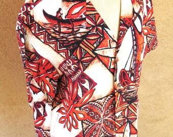 Vintage Hawaiian men shirt w/ boats matching pocket coconut buttons made in Hawaii size XL
