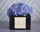 PERSONALIZED Wedding Gift - Short Kiri Wood Vase with Initals