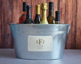 Wedding Gift - Personalized Wine Bucket with Gold Monogram