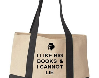 I Like Big Books And I Cannot Lie Funny Reusable Cotton Canvas