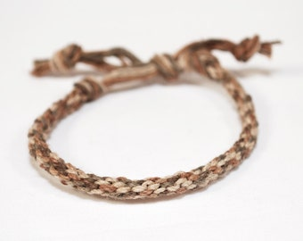 Eco Friendly Hemp Mens Bracelet Kumihimo Earth Rustic Brown Thick Mans Jewelry