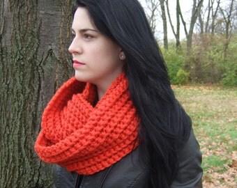 Infinity Scarf, Chunky, Crochet, Tangerine Orange, women's circle scarf