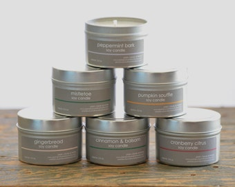 Holiday Scents Soy Candle Tin Set  of 6 - peppermint bark - mistletoe - gingerbread - pumpkin souffle - cinnamon & balsam - cranberry citrus