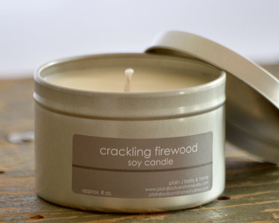 Crackling Firewood Soy Candle Tin 8 Oz By Plainjbodyandhome