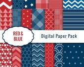Digital Paper Pack / Digital Scrapbook Paper / Patriotic Paper / Red Blue
