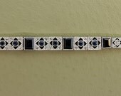 RESERVED FOR LARRY - Antique Bracelet - Antique Art Deco 14k White Gold Rose Cut Diamond and Sapphire Bracelet