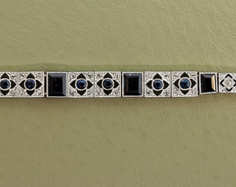 Antique Bracelet - Antique Art Deco 14k White Gold Rose Cut Diamond and Sapphire Bracelet