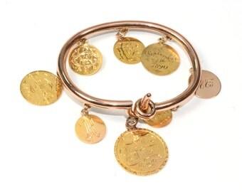 Antique Bracelet - Antique Victorian circa 1890s 15k Rose Gold Coin Bracelet