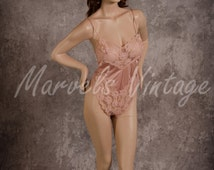 Vintage Kayser Lingerie Teddy Champagne Bodysuit Size 36 Medium