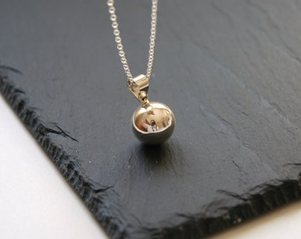 Harmony ball necklace, sterling silver harmony ball pendant, musical chime, plain bola charm, pregnancy, baby, simple, angel caller, wish