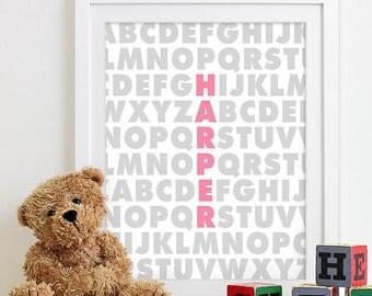 Baby Girl Nursery Decor Girls Nursery Art, Baby Girl Gifts, Birth Print Baby Name Art, Baby Announcement, Nursery Alphabet Art