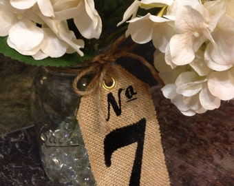 Burlap TABLE NUMBERS - Set of 20 - Wedding Centerpieces - Custom Embroidered