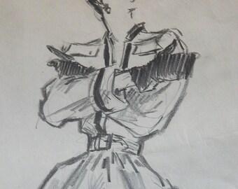 1940s Original Drawing Pencil and Charcol