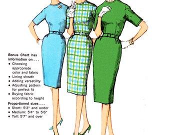 "1960 Vintage Mad Men, Rockabilly, Proportioned Sheath Dress, For Petite/Medium/Tall, Bonus Basic Chart, Simplicity 3574, Pick Bust 34 or 38"""