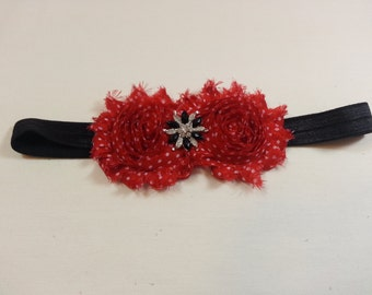 Red with White Polka Dot Shabby Chic Flowers on an Black Headband with Rhinestone/Pearl Embellishment, Infant to Adult